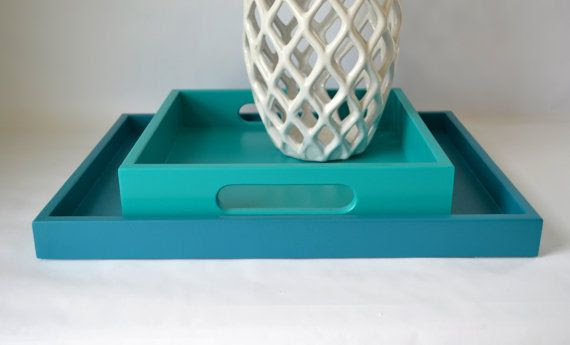 Teal Blue 14 x 18 Shallow Wood Decorative Tray, Coffee ...