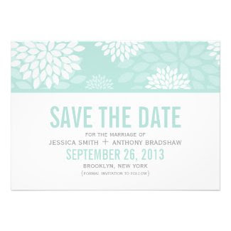 Mint Chrysanthemums Wedding Save the Date Custom Announcements