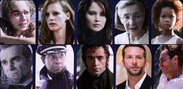 """Já pensou em Daniel Day-Lewis (embaixo, à esq), de """"Lincoln"""", concorrendo ao Oscar de melhor ator com Jessica Chastain (em cima, segunda da esq para a dir.), de """"Na Hora Mais Escura"""""""