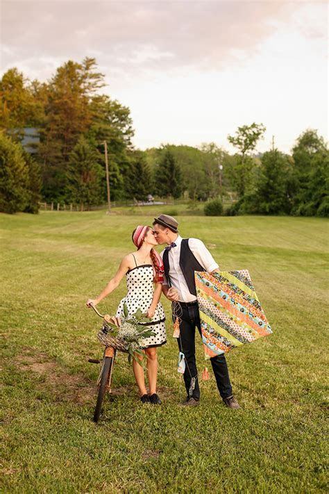 Vintage Picnic Engagement Session   Glamour & Grace