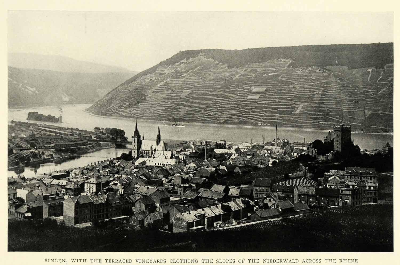 1925 Print Bingen Germany Vineyards Hillside Cityscape Church Rhine Nahe Tower
