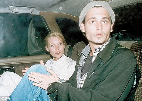 Kate Moss and Johnny Depp in 1995. Kate and Johnny Depp in 1995