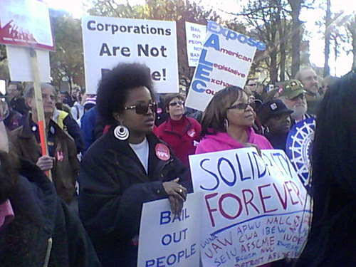 Labor activists marched in solidarity with Occupy Detroit on November 6, 2011. The demonstration attracted over 700 people from unions and the community. (Photo: Abayomi Azikiwe) by Pan-African News Wire File Photos