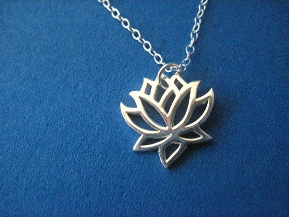 Bridesmaid Jewelry Sterling Silver Lotus Flower Bridesmaid Necklace