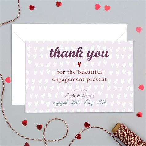 personalised engagement or wedding thank you card by molly
