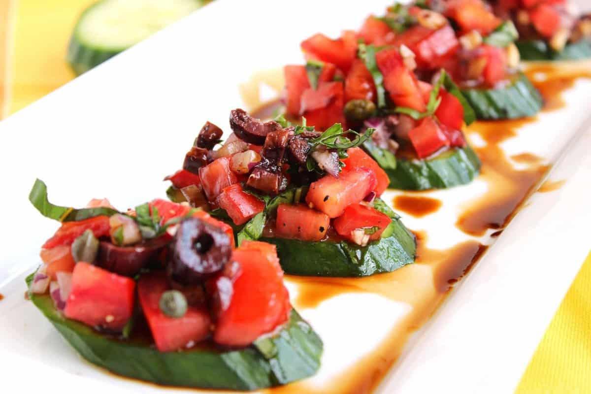 Cucumber Bruschetta with Tomato and Kalamata Olives  The Suburban Soapbox