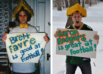 Brett Favre and Aaron Rodgers are good at football