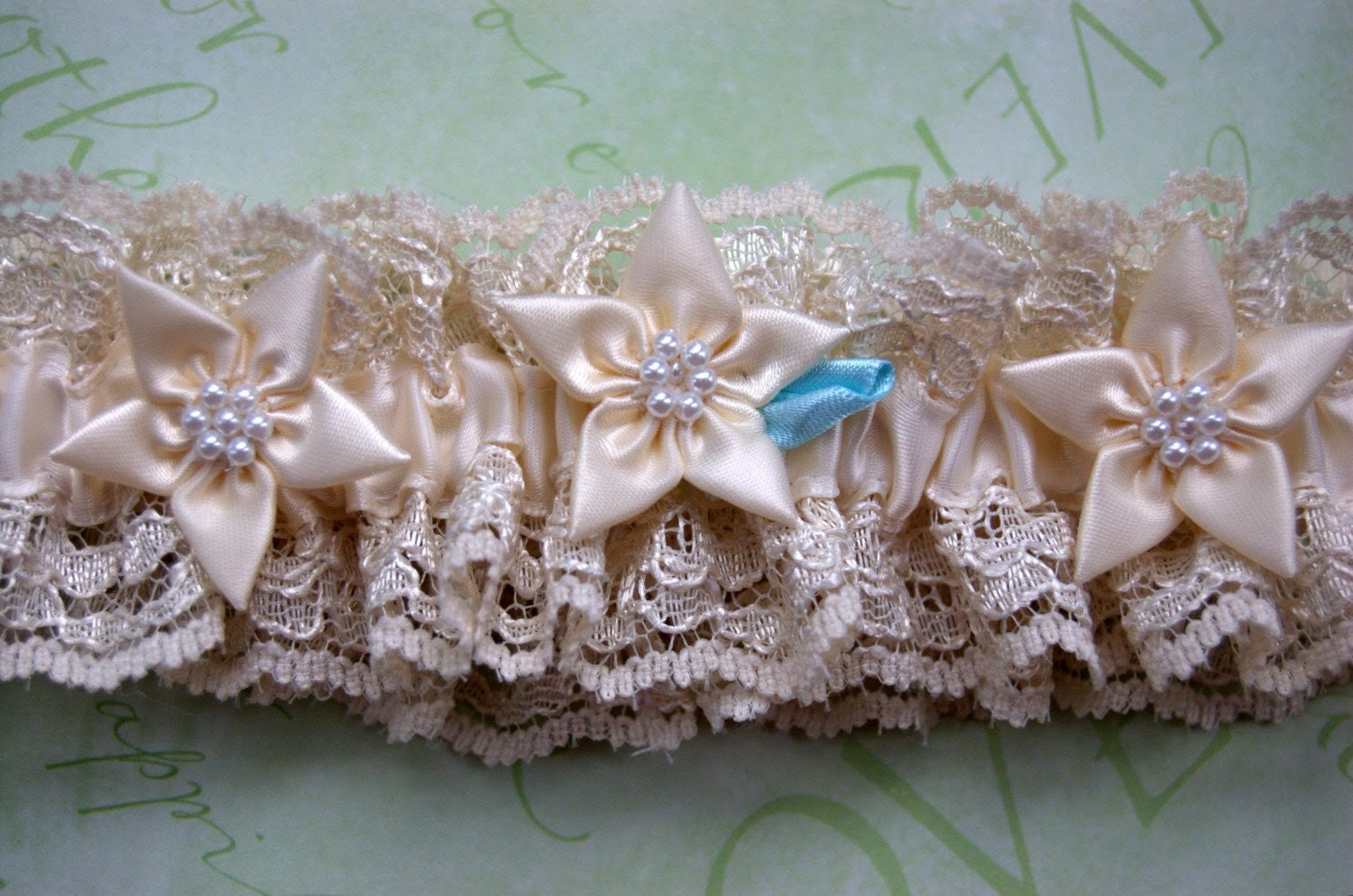 Vintage Ivory Lace Garter with Flowers and Pearls and My Signature  Something Blue Petal