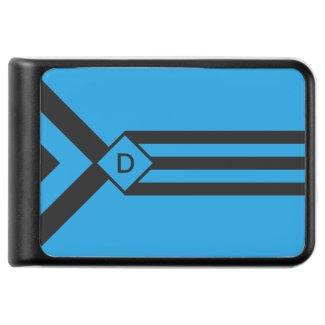 Black Stripes Chevrons with Monogram on Blue Power Bank