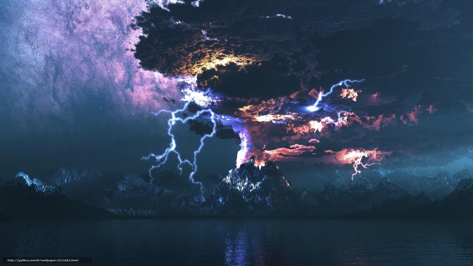 壁紙をダウンロード 海 火山 稲妻 デスクトップの解像度のための無料