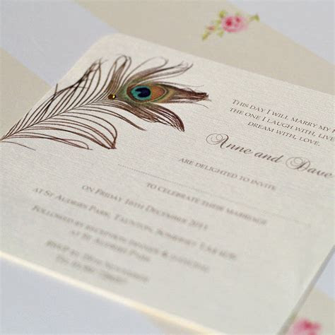 peacock feather wedding invitations by beautiful day