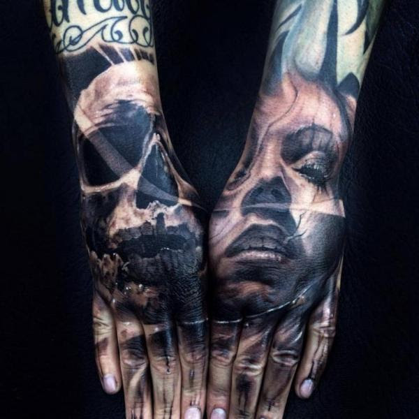 Both Hands Face And Skull Tattoo By Jak Connolly Best Tattoo Ideas
