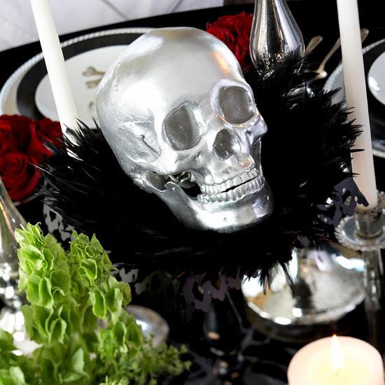 Silver Skull Centerpiece