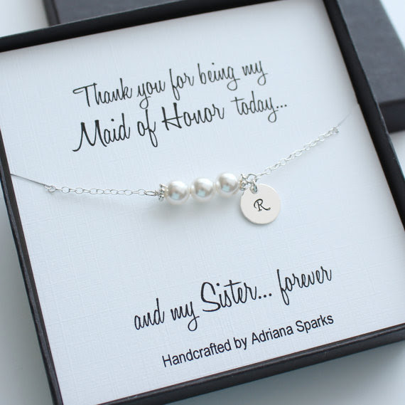 Personalized Maid Of Honor Gifts Personalized Pearl Bracelet