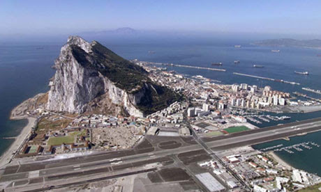 Gibraltar with rock - aerial view
