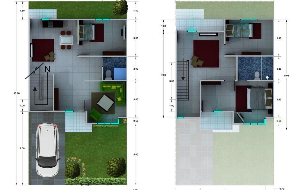 denah new denah rumah minimalis 2 lantai ukuran 8x15