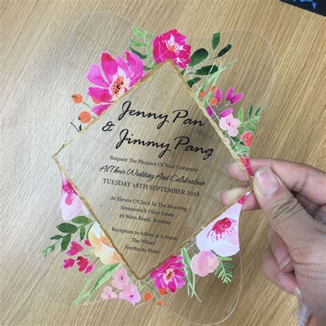 2018 flower printing acrylic wedding invitation card