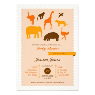Elegant Safari Animals Baby Shower Invitation