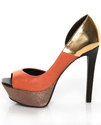 dark salmon and gold shimmer pumps. A little bit more adventurous.