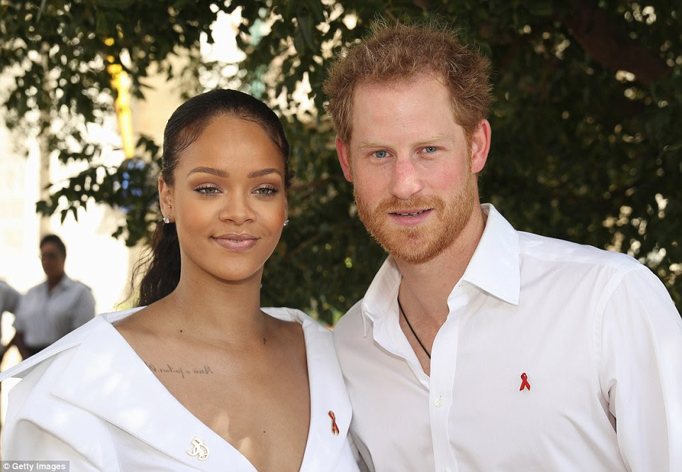Rihanna and Prince Harry attend the 'Man Aware' event held by the Barbados National HIV/AIDS Commission on the eleventh day of an official visit