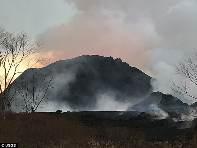 Kilauea's continual eruptions have created two rift zones extending from the summit. Fissure 8 became dominant and built a cone approaching 200ft high. Pictured: The cone created on Fissure 8, which experts now say could be classified as a volcano in its own right