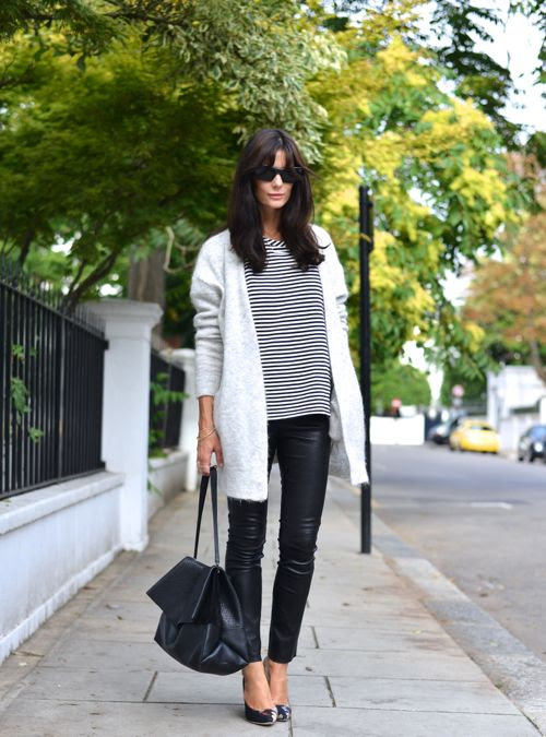 long cardigan + skinny pants.