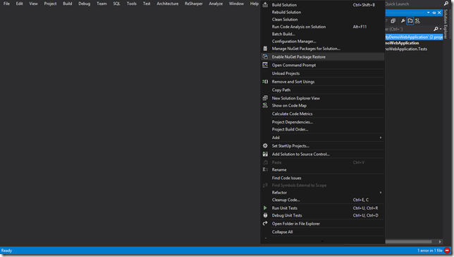 It is possible to set up NuGet package restore for a solution