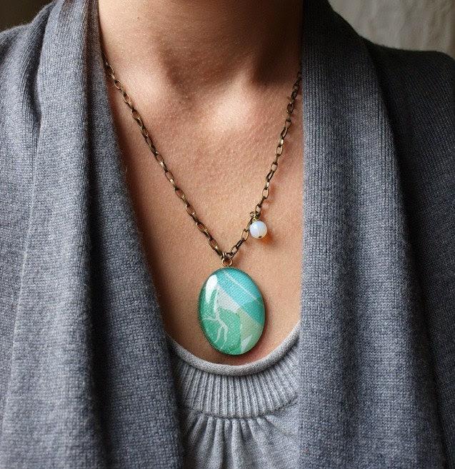 WINTER - Original Jewelry Illustration Antique Brass Necklace