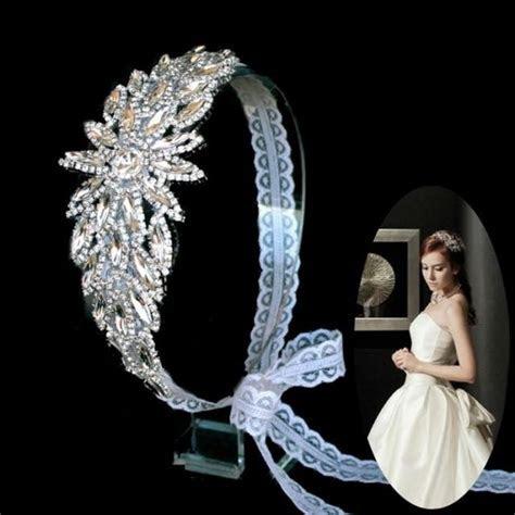 Elegant Rhinestone Headpiece Wedding Bridal White Lace
