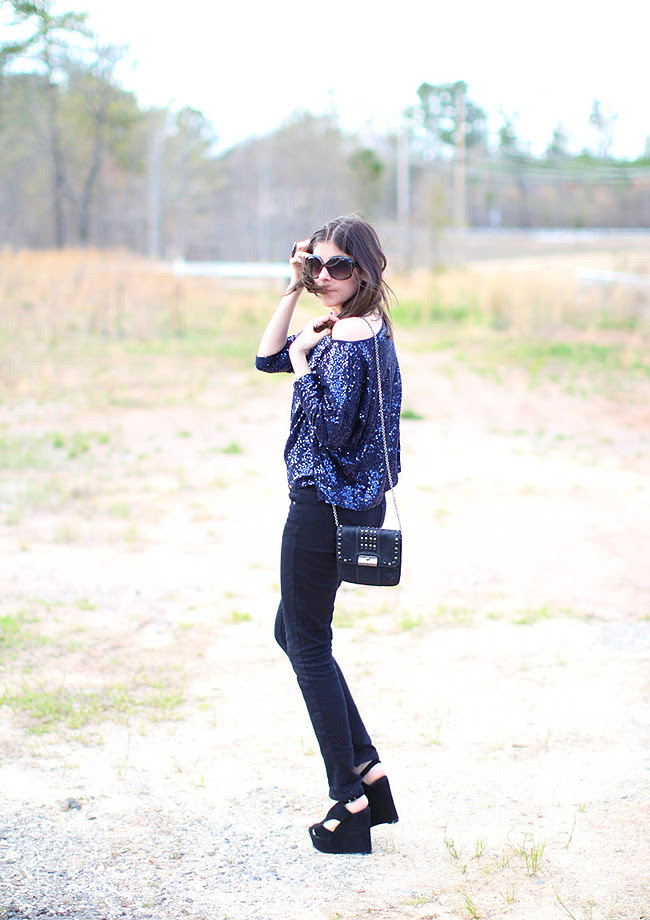 Sequins, Skinny jeans, Outfit, Fashion, Mariel Wedges Jeffrey Campbell, Coach handbag
