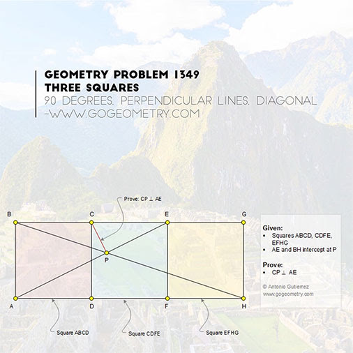 Typography of Geometry Problem 1349: Three Squares with Machu Picchu in the background, iPad Apps, Mobile, Art, Class, Tablet