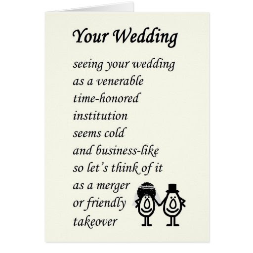 Your Wedding - a funny wedding poem Cards