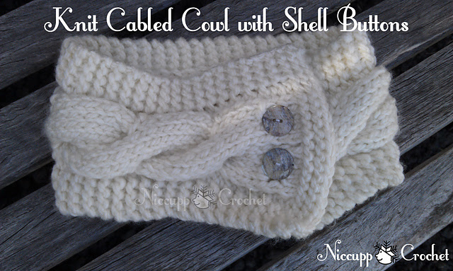 Beautiful Knit cabled cowl made by Niccupp Crochet