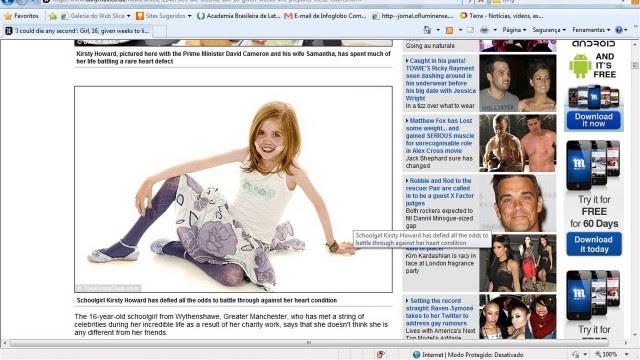 Kirsty Howard: apesar da doença, ela se considera uma garota normal