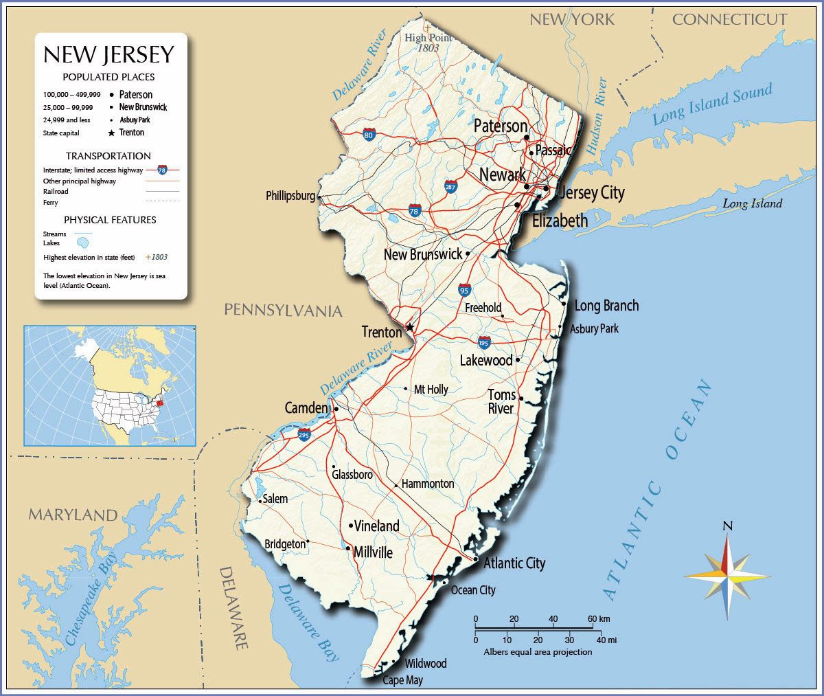 Large New Jersey State Maps For Free Download And Print