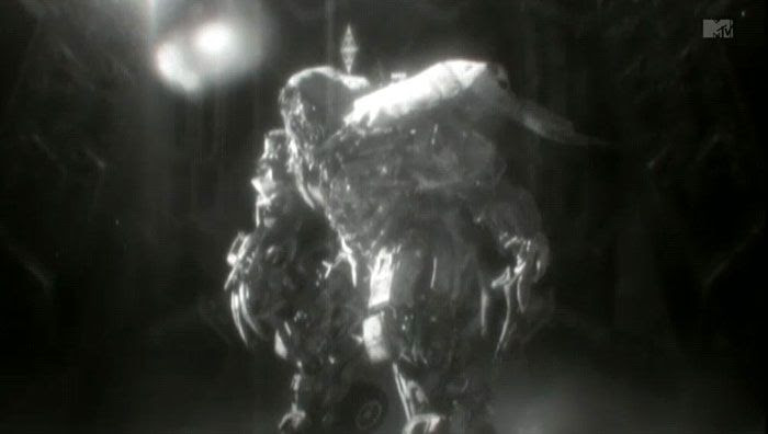 A screenshot of Megatron from the music video to Linkin Park's TRANSFORMERS 3 song, 'Iridescent'.
