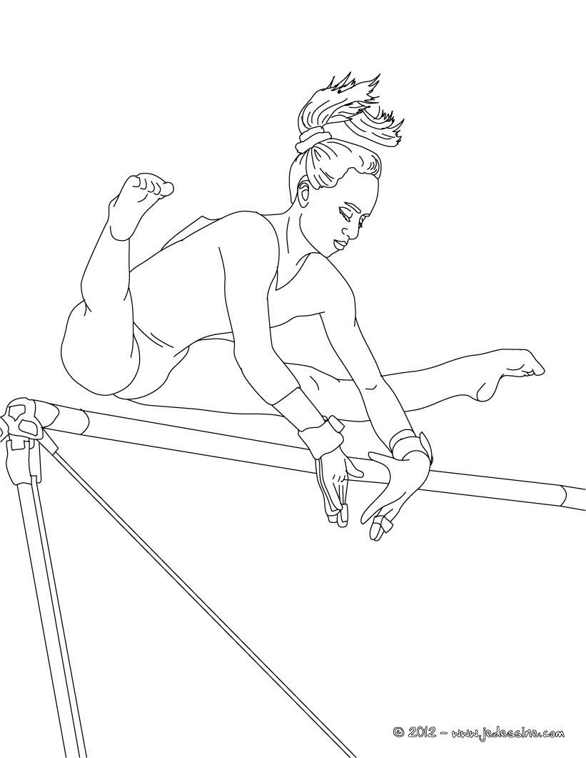 Coloriages coloriage barres asymetriques en gymnastique artistique fr hellokids