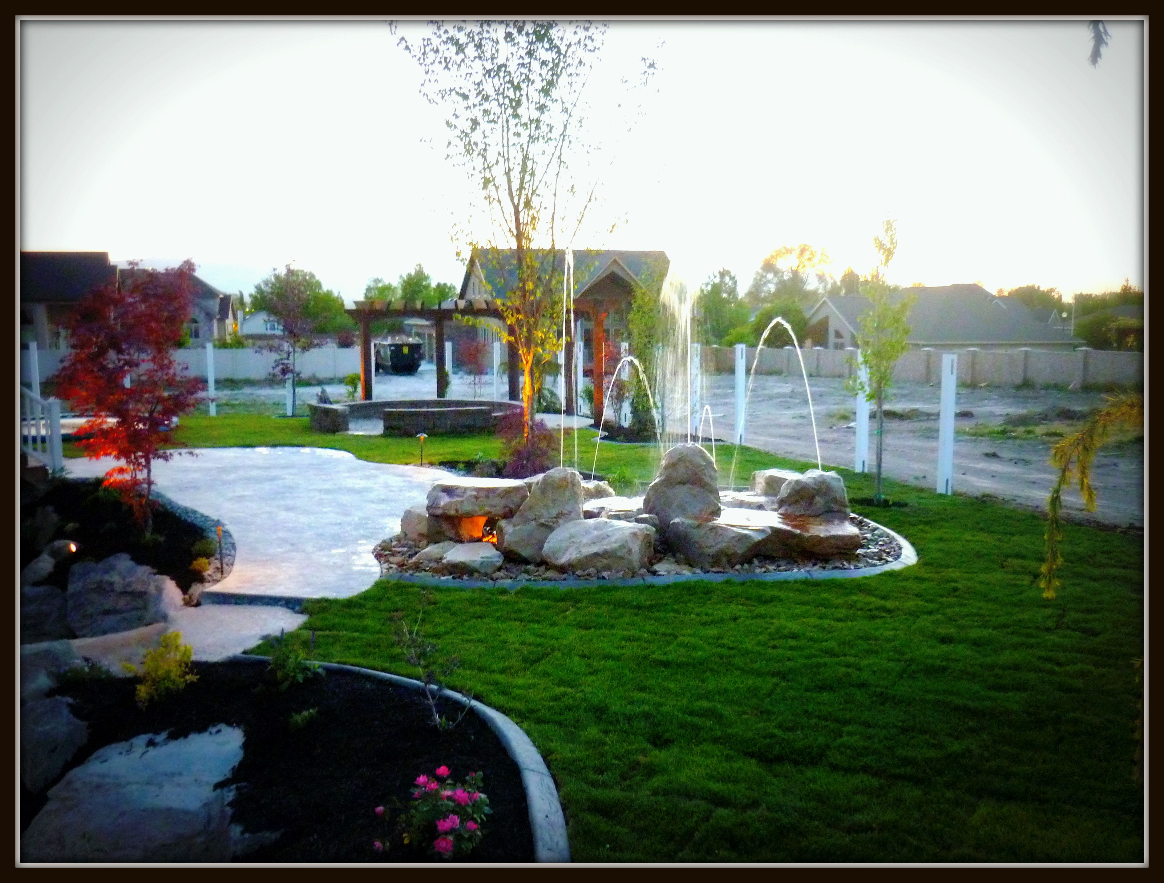 Gas Fire Pit Waterfall Pool and Landscaping