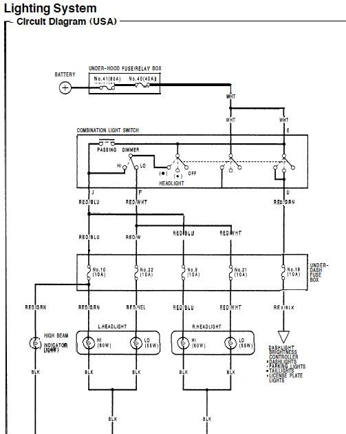 1994 Honda Civic Headlamp Wiring