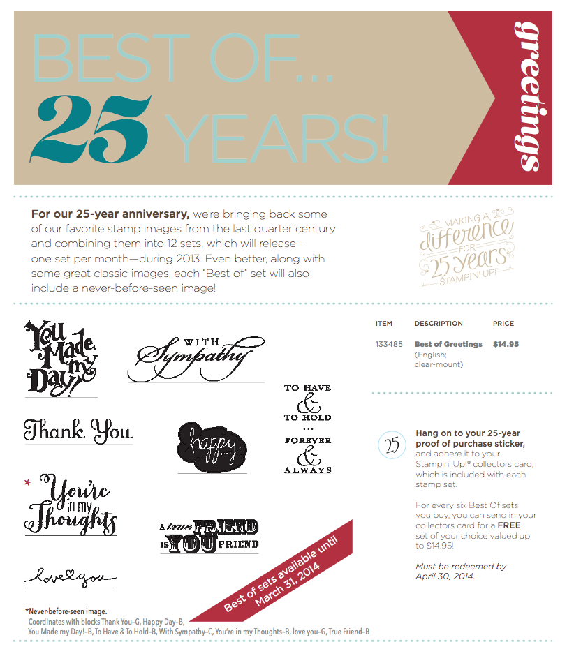 Stampin Up Best of 25 Years   Greetings