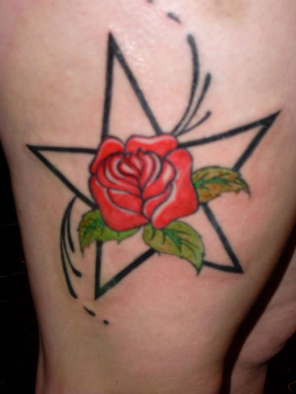 Rose And Star Tattoo