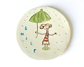 Round Dish Smile Ceramic Plate Umbrella Pottery White Eco Friendly Rain Ring Bowl OOAK - Ceraminic