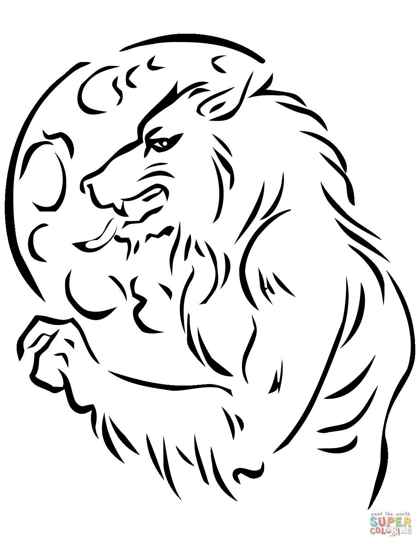 Dibujo De Hombre Lobo Y Luna Para Colorear Dibujos Para Colorear