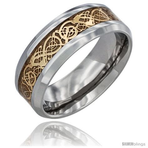 Surgical Steel Celtic Dragon Wedding Band Ring Gold Color