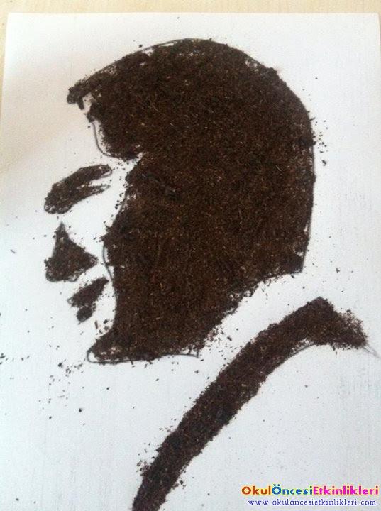 Kuru çay Ile Atatürk Portresi Yapalım Kalıplı Okul öncesi