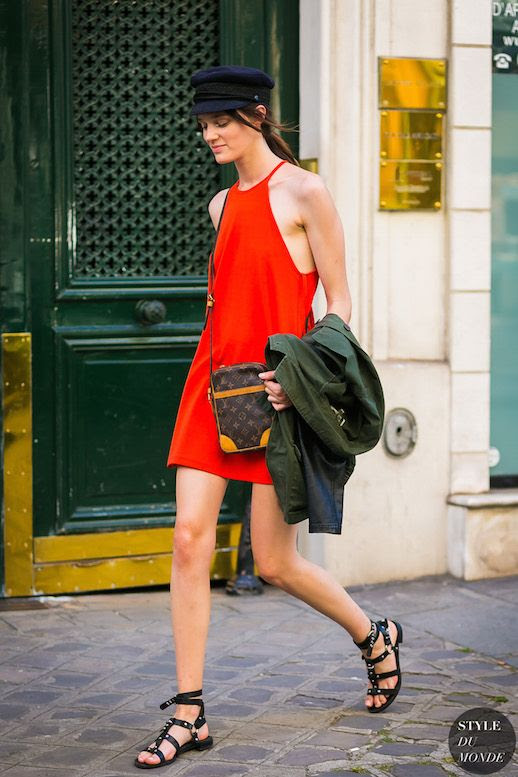 Le Fashion Blog Baret Hat Red Dress Crossbody Bag Black Sandals Via Style Du Monde
