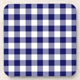 Navy and White Gingham Pattern Drink Coasters