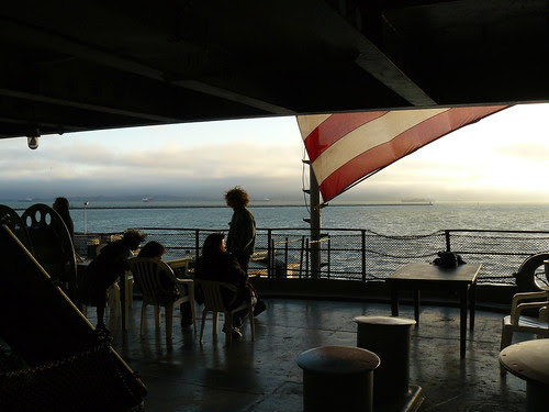 Looking out Hornet's hanger-deck stern overlooking San Francisco Bay