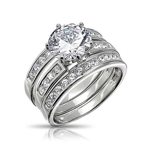 2CT 3 Piece CZ Colorless Round Cut Bridal Engagement