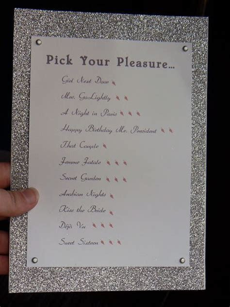Name Your Lingerie, Create A Menu, and let your husband